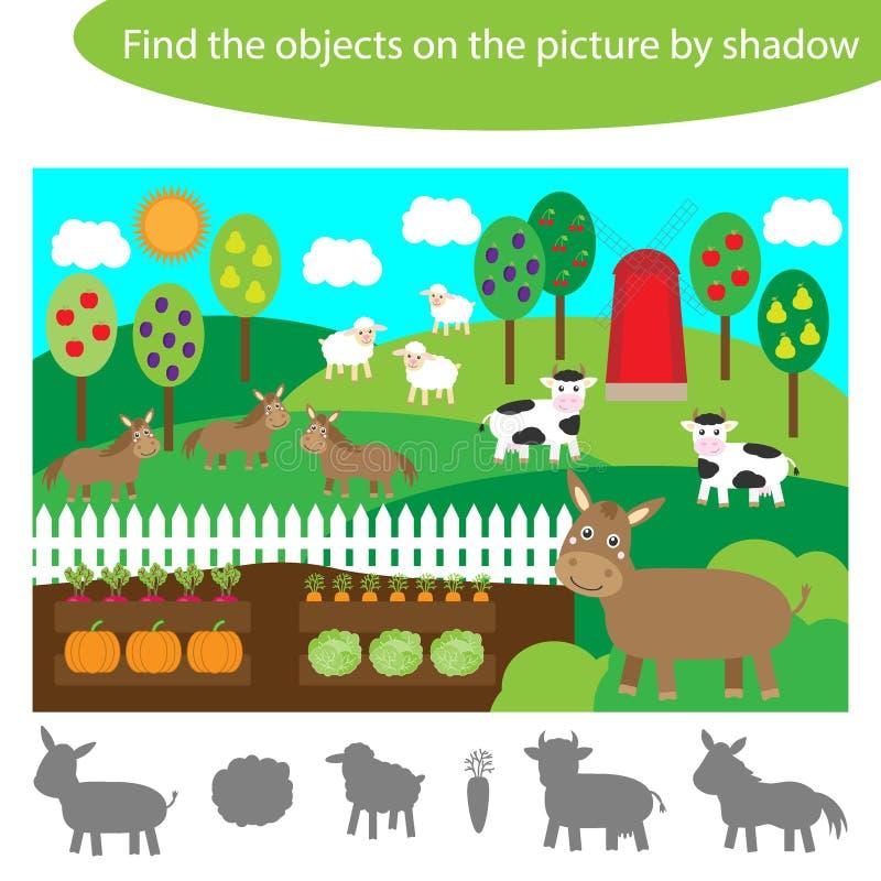 Encontre os objetos por sombra, jogo para crianças animais de fazenda e desenho animado de jardim, jogo educacional para crianças ilustração stock