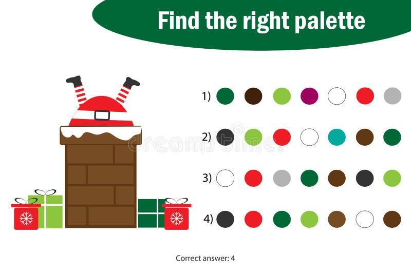 Encontre a paleta direita à imagem, Santa Claus nos desenhos animados da chaminé, jogo do papel da educação do Natal para o desen ilustração stock