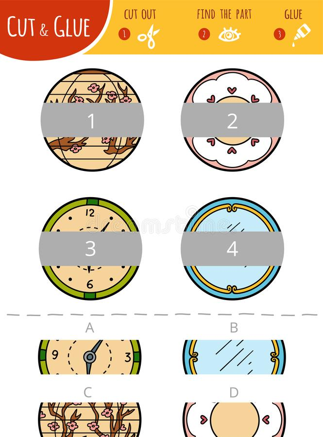 Encontre a parte direita Corte e jogo da colagem para crianças círculos ilustração stock