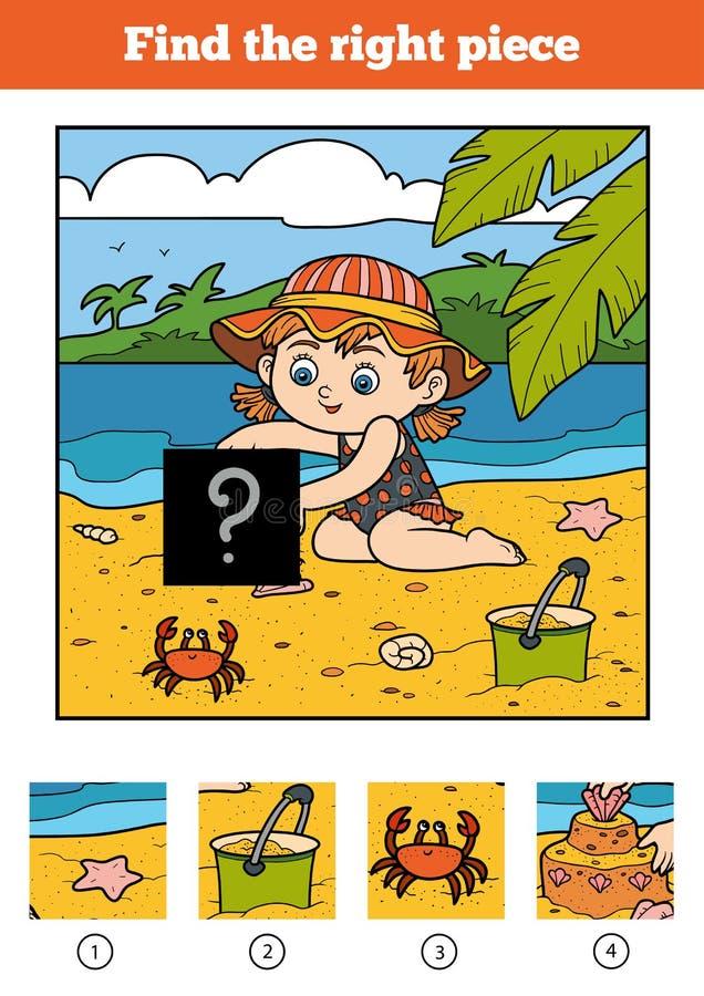 Encontre a parte direita, jogo para crianças Bailarina pequena ilustração royalty free