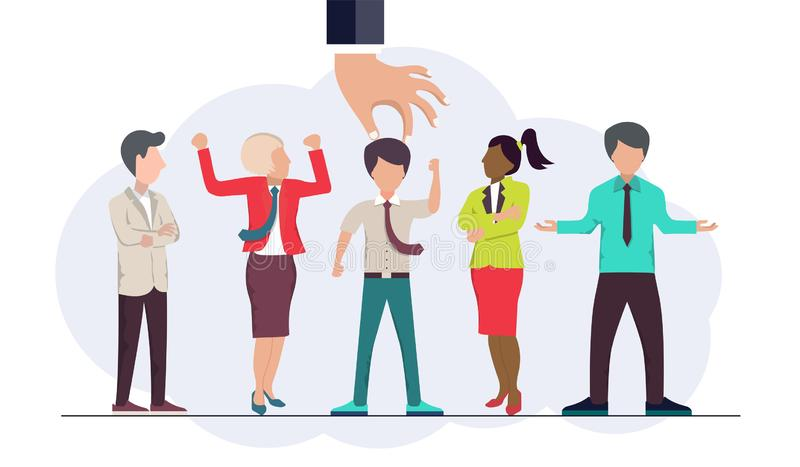 Encontre a pessoa adequada para o conceito de trabalho Empregados novos de aluguer e de recrutamento Vetor liso ilustração royalty free