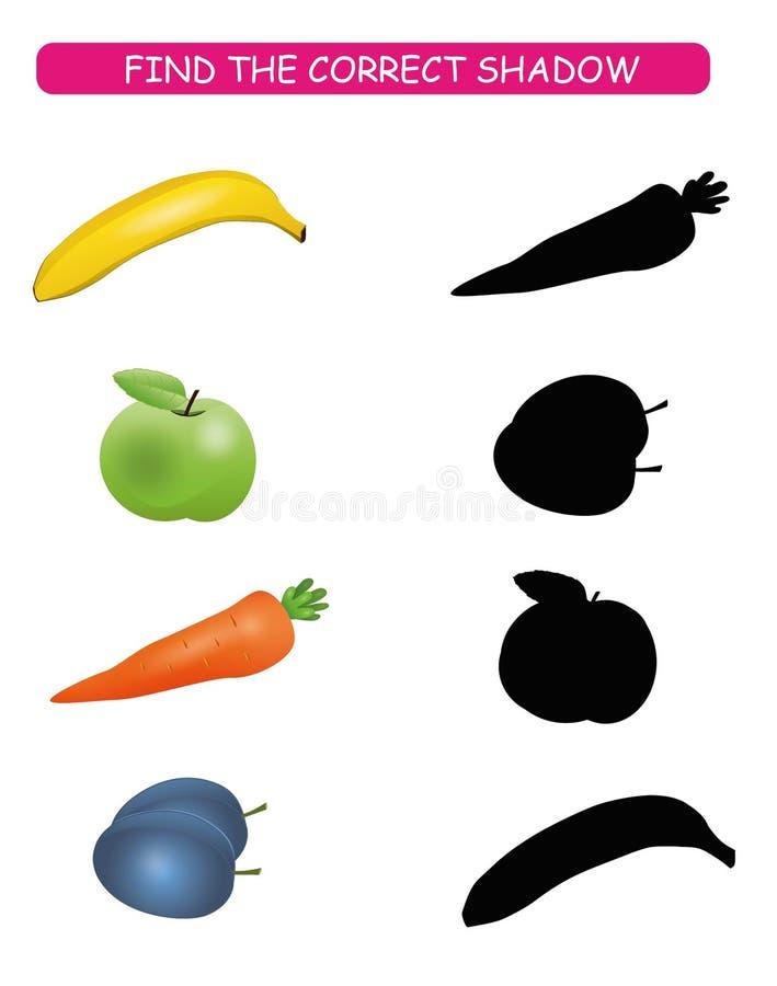 Encontre a sombra correta Caçoa o jogo educacional Frutas e legumes dos desenhos animados: banana, cenoura, ameixa, maçã O exerci ilustração royalty free