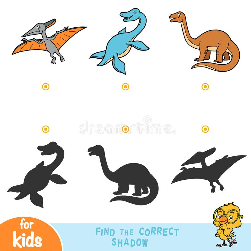 Encontre a sombra correta, jogo da educação Grupo de répteis ilustração stock