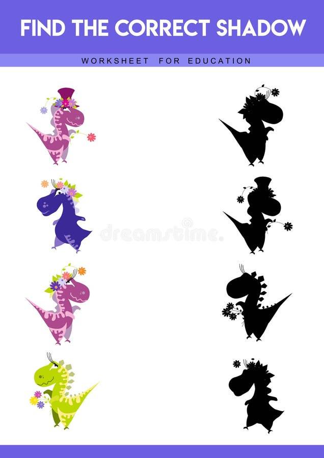 Encontre a sombra correta Jogo educacional para crian?as Ilustra??o do vetor dos desenhos animados ilustração stock