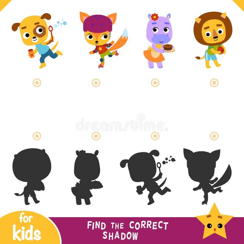 Encontre a sombra correta, jogo para crianças, grupo da educação de personagens de banda desenhada ilustração do vetor