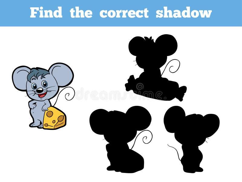 Encontre a sombra correta (o rato) ilustração royalty free