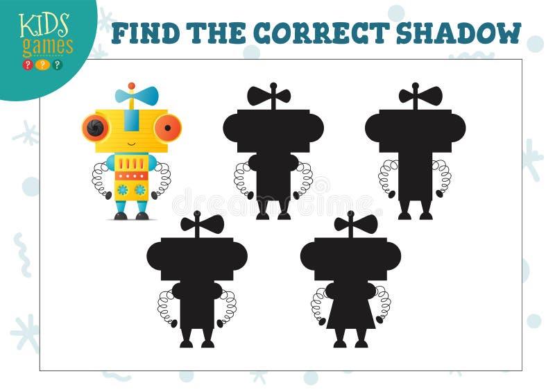 Encontre a sombra correta para o mini jogo das crian?as pr?es-escolar educacionais bonitos do rob? dos desenhos animados ilustração royalty free