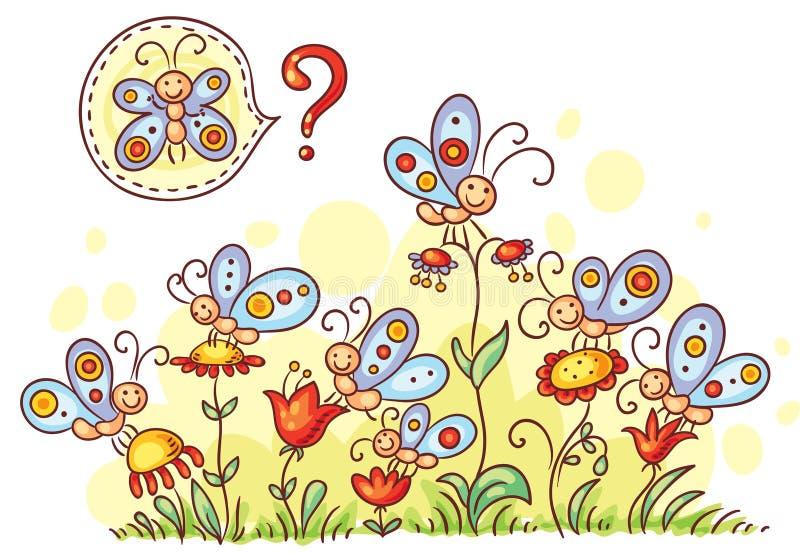 Encontre um jogo similar da borboleta ilustração do vetor