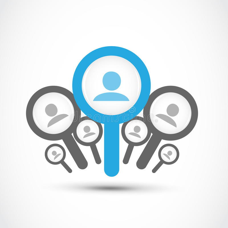 Encontre um trabalho, conceito da procura de emprego ilustração royalty free