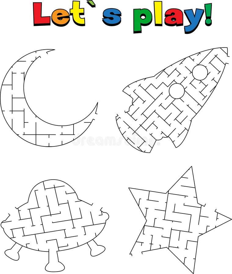 Encontre uma maneira fora do labirinto do espaço Jogo para miúdos ilustração stock