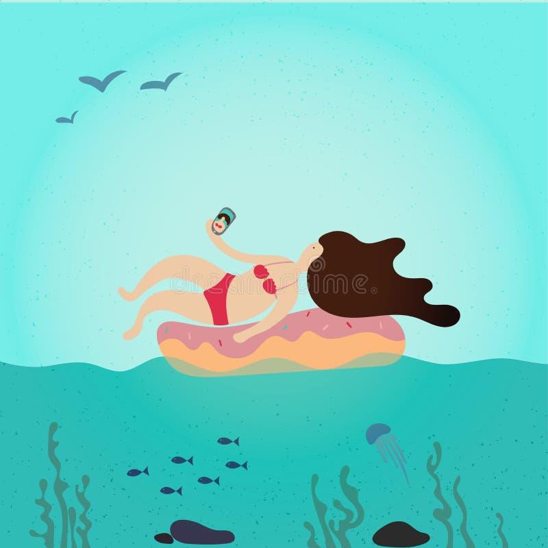 Encontro de relaxamento do caráter da menina da jovem mulher e nadar no colchão inflável no banho de sol do oceano do mar e tomad ilustração royalty free