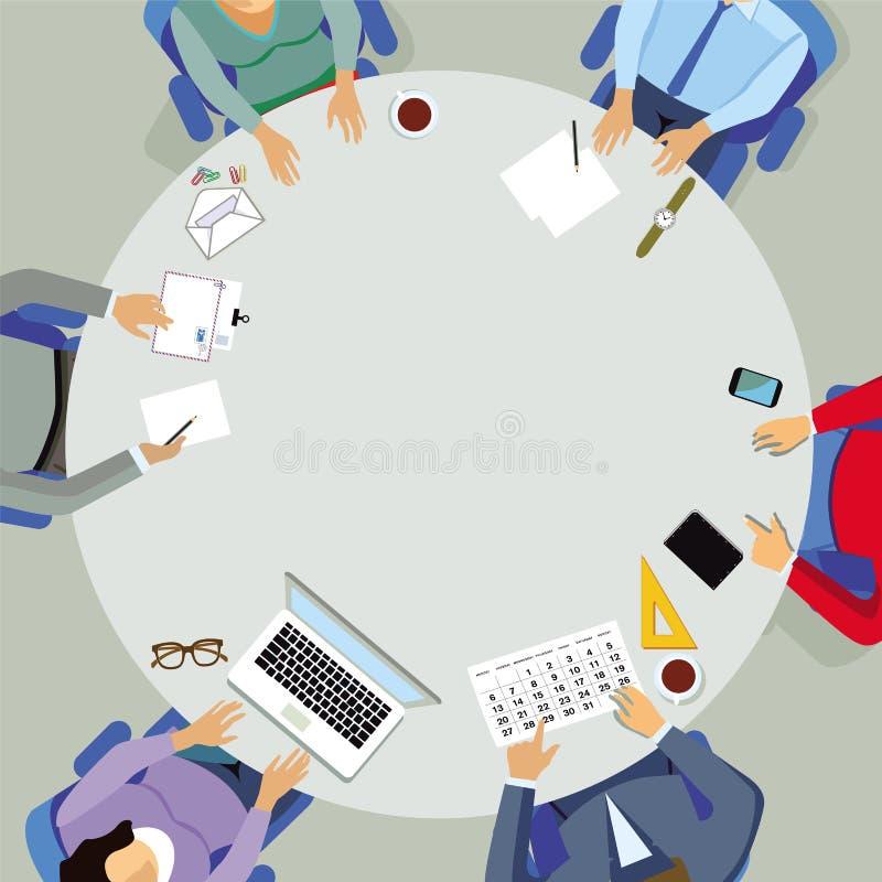 Encontro em torno da mesa redonda ilustração do vetor