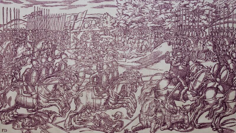 Encontro entre cavaleiros ingleses e irlandeses no final do século XVI Por John Derricke, 1581 fotografia de stock