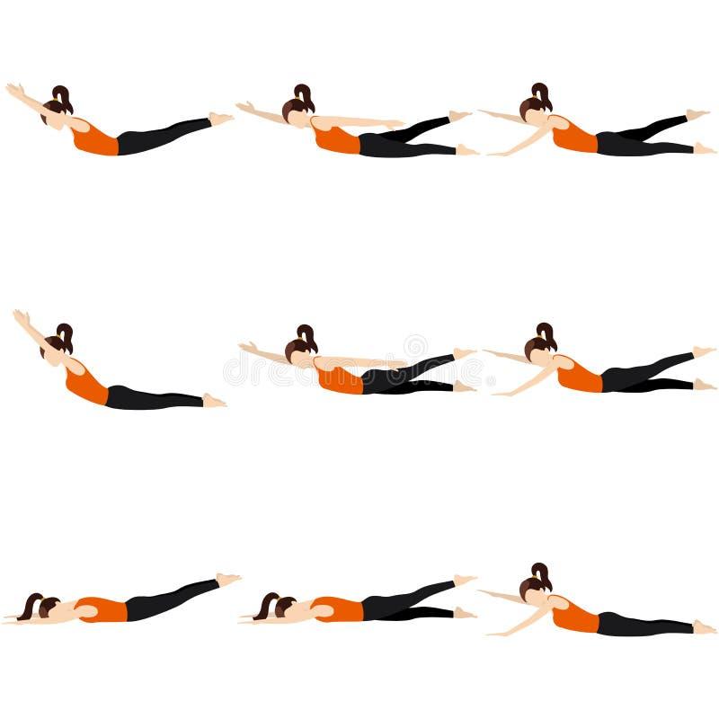 Encontro no grupo das poses da ioga do estômago ilustração stock