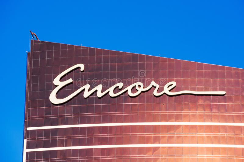 Encore luxury hotel, casino, entertainment and shopping promenade facade and exterior as seen from Las Vegas Strip royalty free stock photography