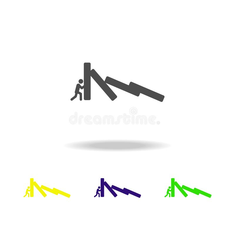 Encounter with difficulty colored icons. Element of overcome challenge illustration. Signs and symbols collection icon for. Websites, mobile app on white royalty free illustration