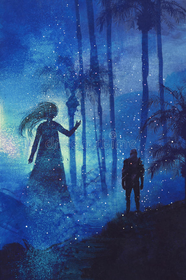 Encounter between man and ghost in mysterious dark forest stock illustration