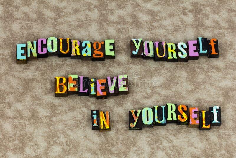 Encourage glauben sich Vertrauenstraum stockbilder