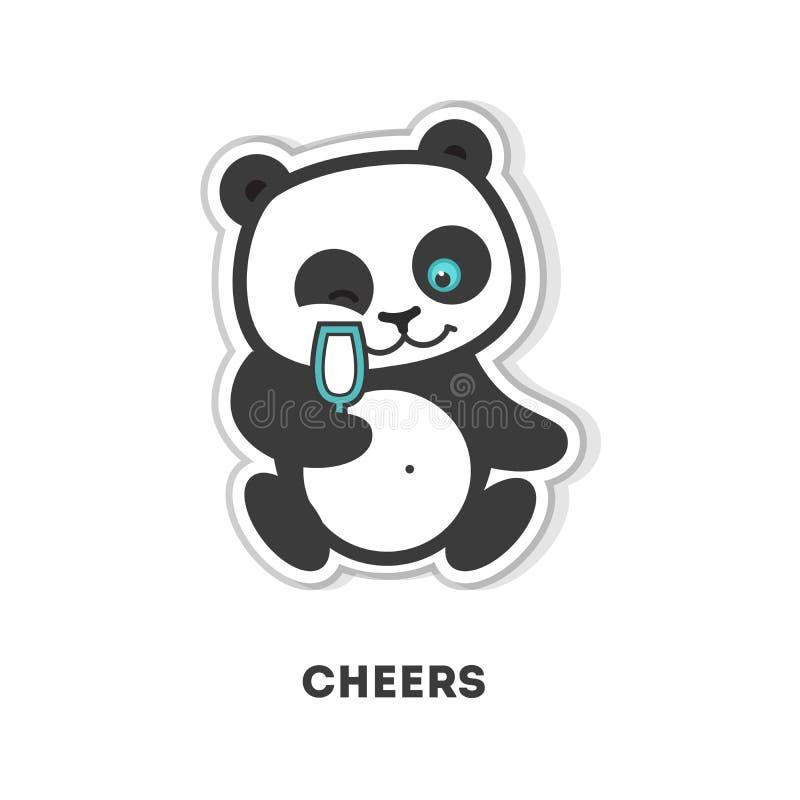 Encourage l'autocollant de panda illustration stock