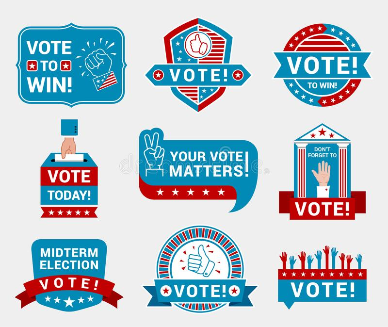 Encourage voting badges and stickers vector templates set stock illustration