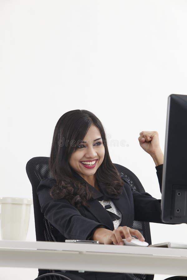 Encourager de femme d'affaires images libres de droits