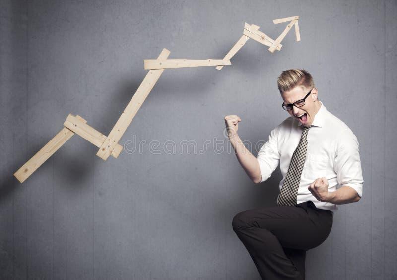 Encourager de gagnant d'affaires. images stock