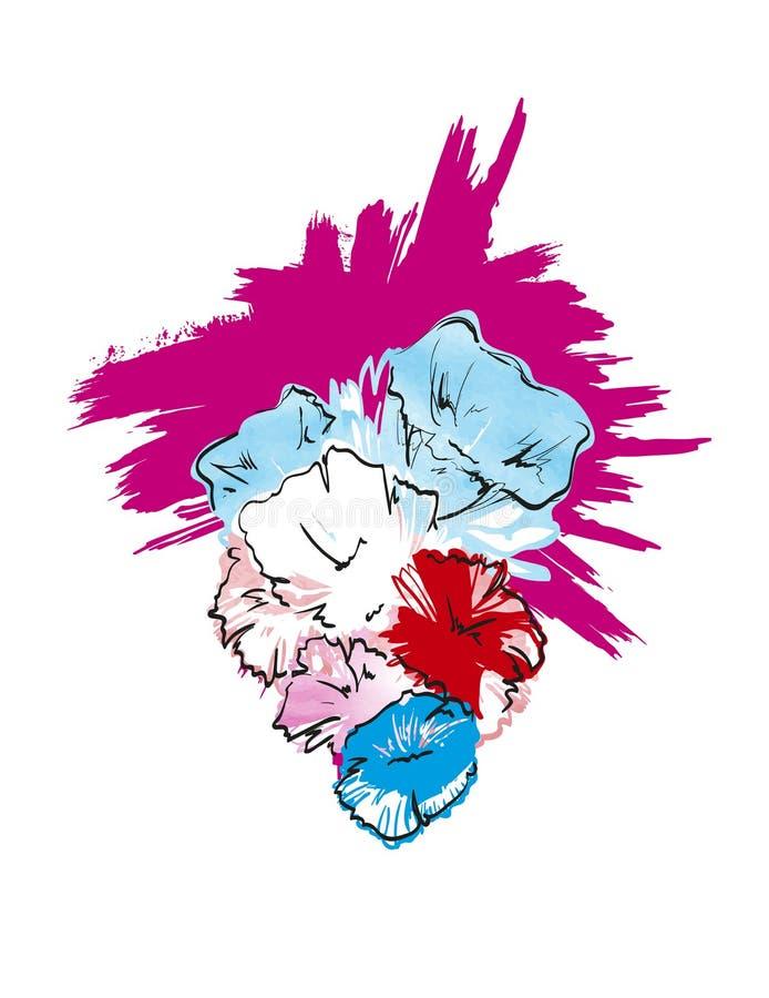 Encre, crayon, croquis de fleur d'aquarelle illustration stock