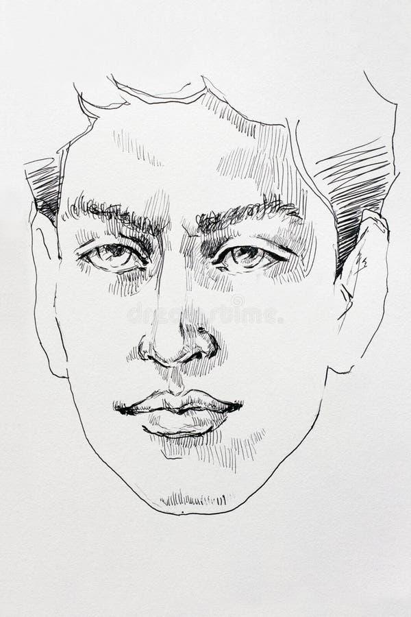 Encre dessinant le caractère masculin hautain de croquis de portrait illustration de vecteur
