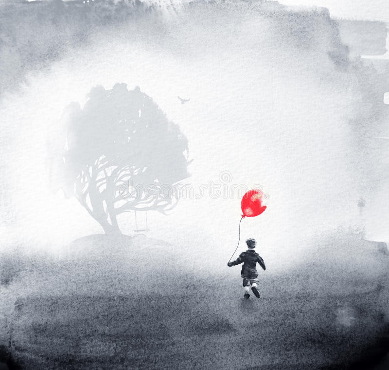 Encre deux rêveuse et peintures pour aquarelle combinées illustration de vecteur