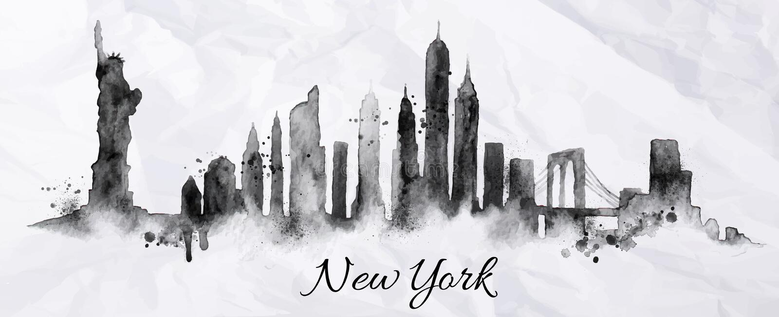Encre New York de silhouette illustration stock