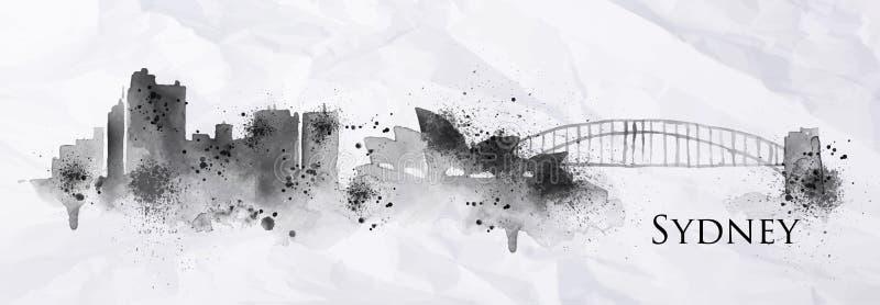 Encre Sydney de silhouette illustration de vecteur