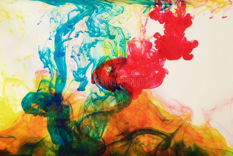 Encres dans l'eau, abstraction de couleur, explosion de couleur image stock