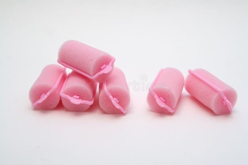 Encrespadores de cabelo cor-de-rosa da espuma foto de stock royalty free