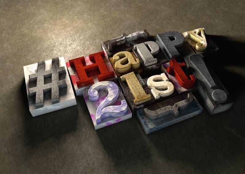 Encrez éclaboussé en imprimant les blocs en bois avec le 21ème typog heureux sale illustration de vecteur