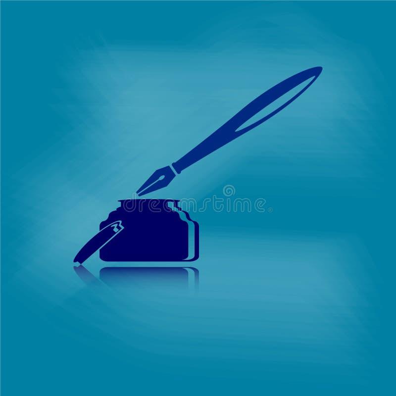 Encrez le stylo avec le grunge poussiéreux sur le fond bleu illustration stock
