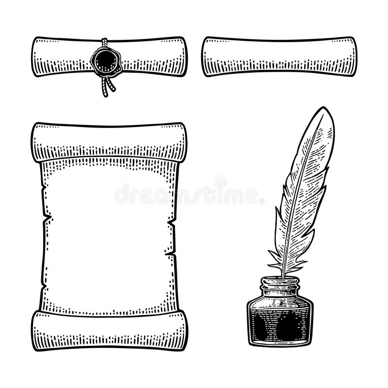 Encrier encastré avec la plume et rouleau avec le joint gravure illustration stock