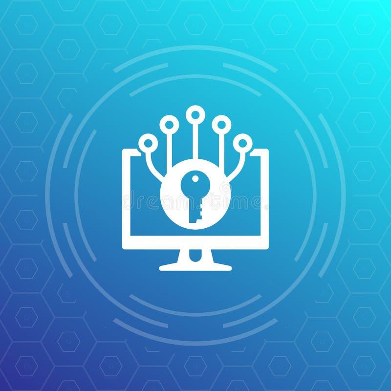 Encripción e icono cibernético del vector de la protección stock de ilustración