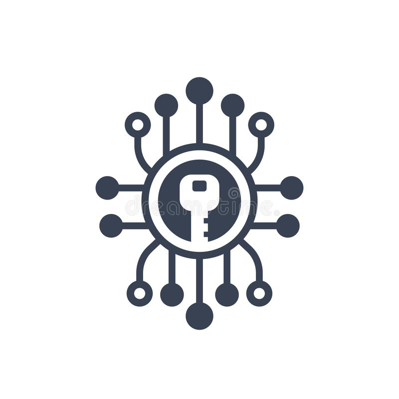 Encripción, icono de la criptografía ilustración del vector