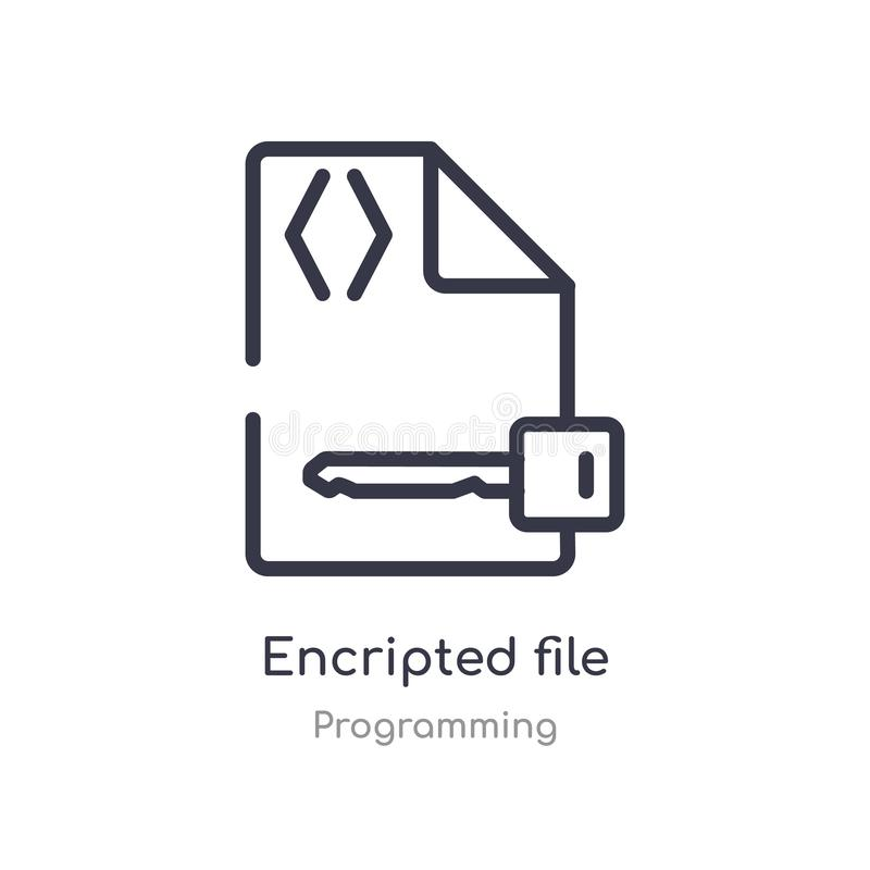 Encripted file outline icon. isolated line vector illustration from programming collection. editable thin stroke encripted file. Icon on white background vector illustration