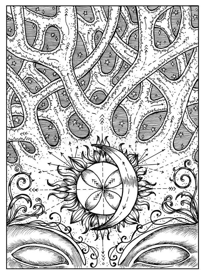 encrucijada Concepto místico blanco y negro para la carta de tarot del oráculo de Lenormand libre illustration