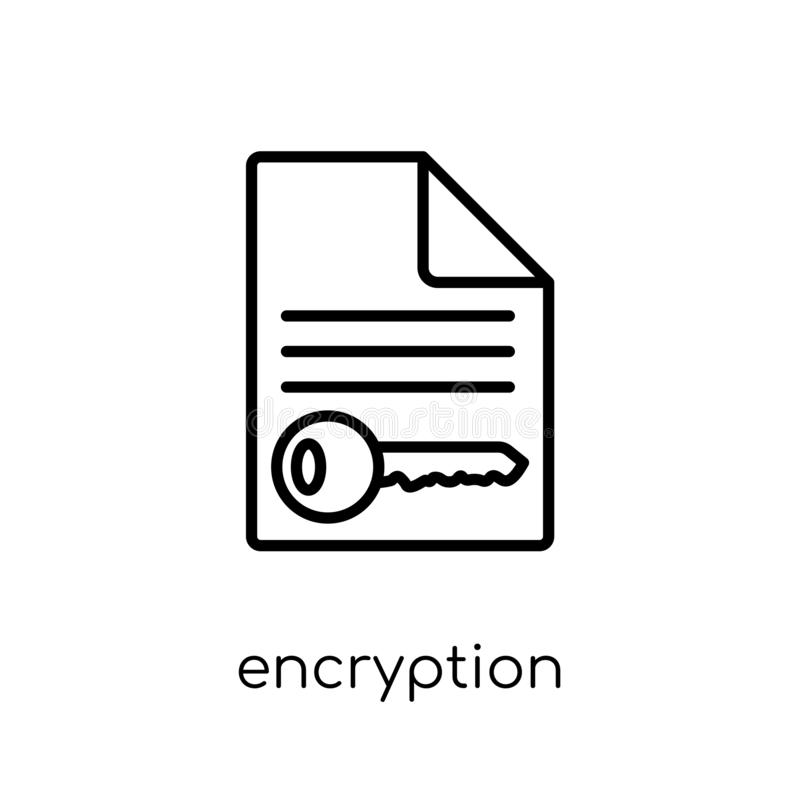 Encryptiepictogram In moderne vlakke lineaire vectorencryptieico vector illustratie