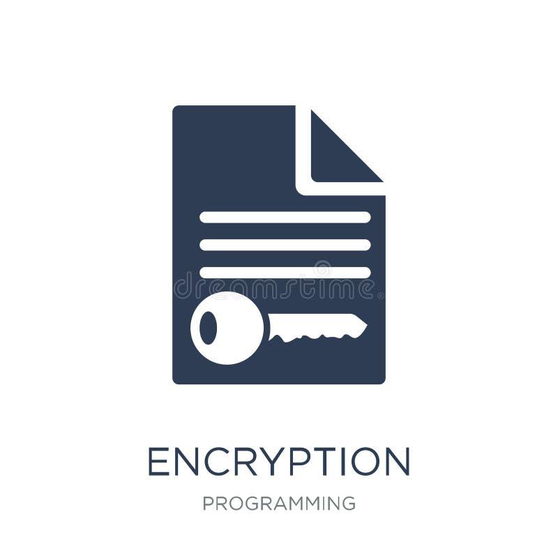 Encryptiepictogram In vlak vectorencryptiepictogram op witte bac stock illustratie