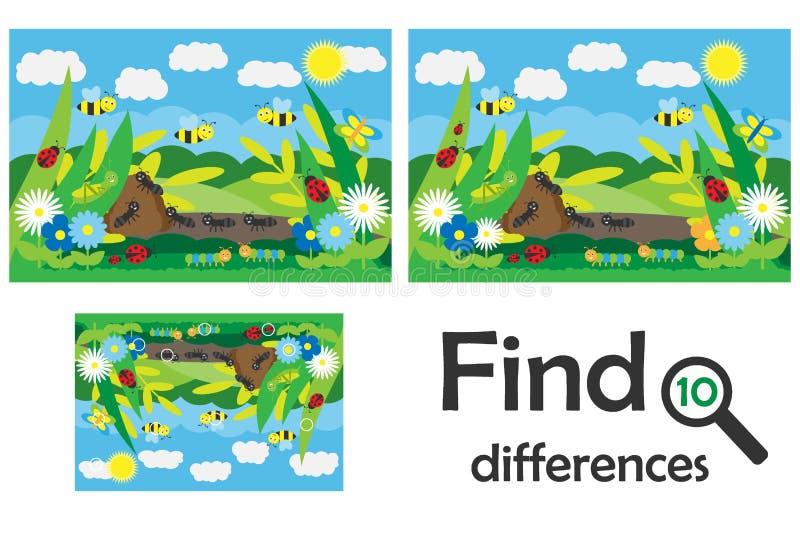 Encuentre 10 diferencias, juego para los ni?os, insectos en el estilo de la historieta, juego para los ni?os, actividad preescola ilustración del vector