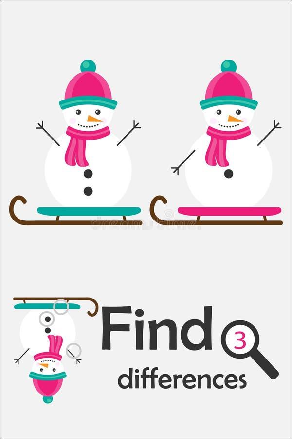 Encuentre 3 diferencias, juego para los niños, muñeco de nieve de la Navidad en el estilo de la historieta, juego para los niños, libre illustration
