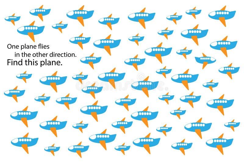 Encuentre diverso avión, juego del rompecabezas de la educación de la diversión con el transporte para los niños, actividad prees ilustración del vector
