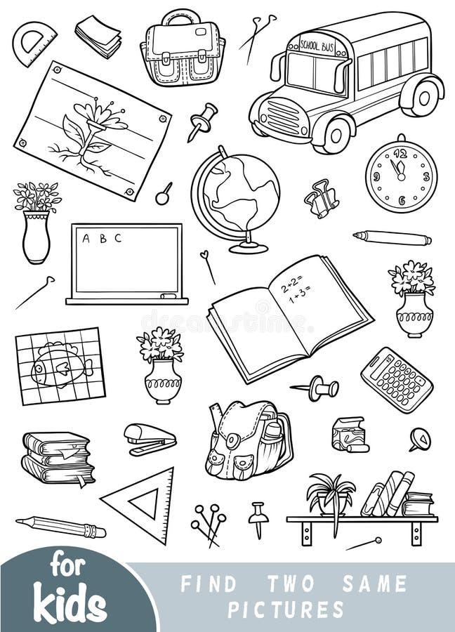 Encuentre dos las mismas imágenes, juego para los niños Sistema de objetos de la escuela ilustración del vector