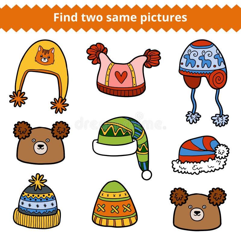 Encuentre dos mismas imágenes, sistema de sombreros hechos punto libre illustration