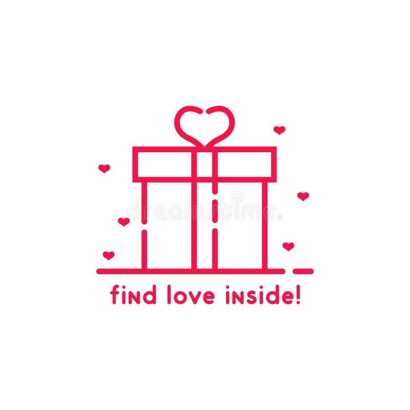 Encuentre el amor dentro de la caja de regalo rosada ilustración del vector