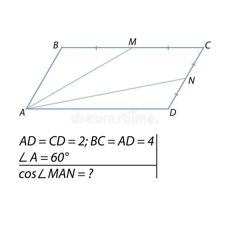 Encuentre el coseno del ángulo entre las líneas rectas libre illustration