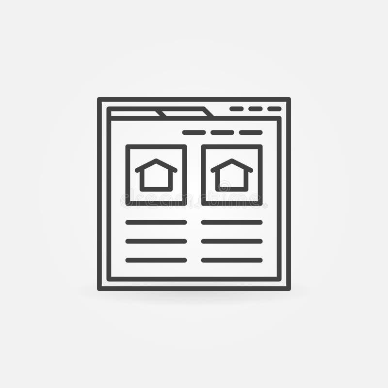 Encuentre el icono del sitio web de las propiedades inmobiliarias stock de ilustración